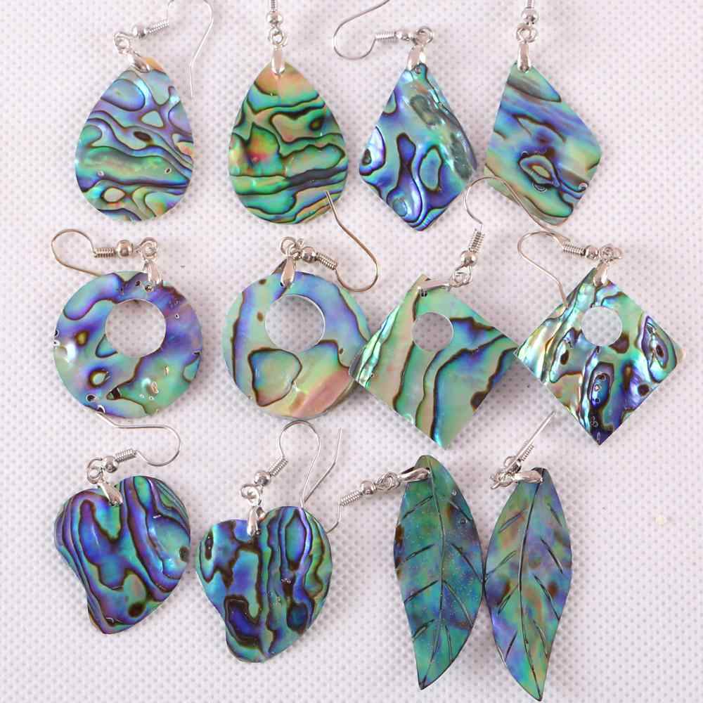 Free Shipping Dangle Hanging Natural Blue New Zealand Abalone Shell Earrings For Women Jewelry 1Pair U170-271