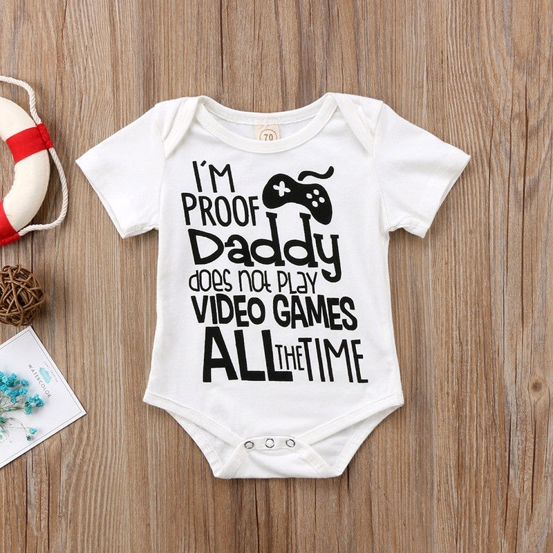 DERMSPE Newborn Baby Girls Boys Short Sleeve Letter Print I'm Proof Daddy Does't Play Video Games Jumpsuit Baby Clothes