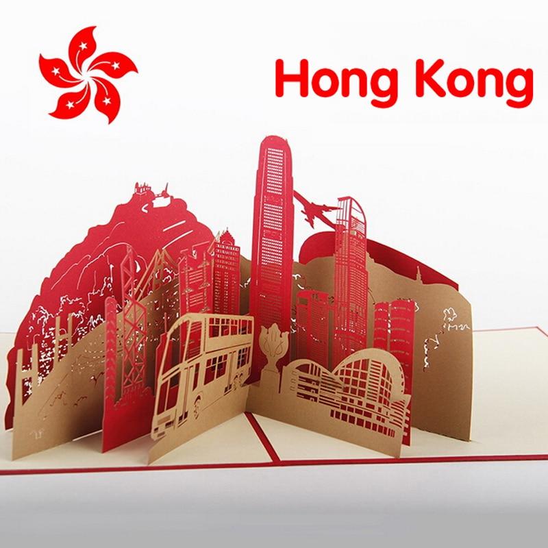 10 PieceslotFree Shipping Kirigami 3D Pop Up Card Hong