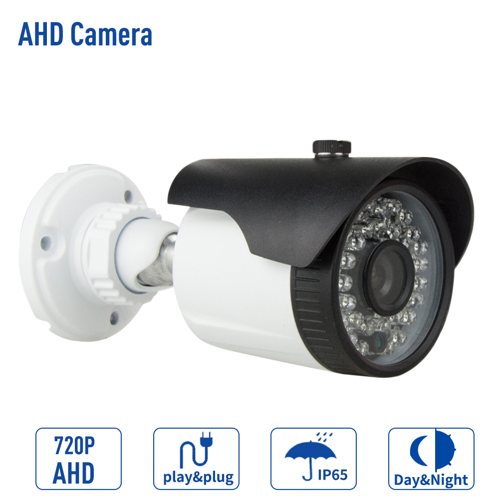 1.0MP AHD 720P CCTV Camera Security Outdoor IP66 Waterproof Bullet Night Vision IR Video Surveillance Cameras With Bracket owlcat indoor bullet cctv camera guard wall mount plastic housing shield with bracket for video surveillance security cameras