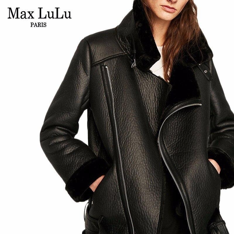 Max LuLu Luxury Spain Brand Thicken Warm Women Faux   Leather   Jacket Winter Woman Fur Coat Ladies Biker Clothing Chaqueta De Cuero