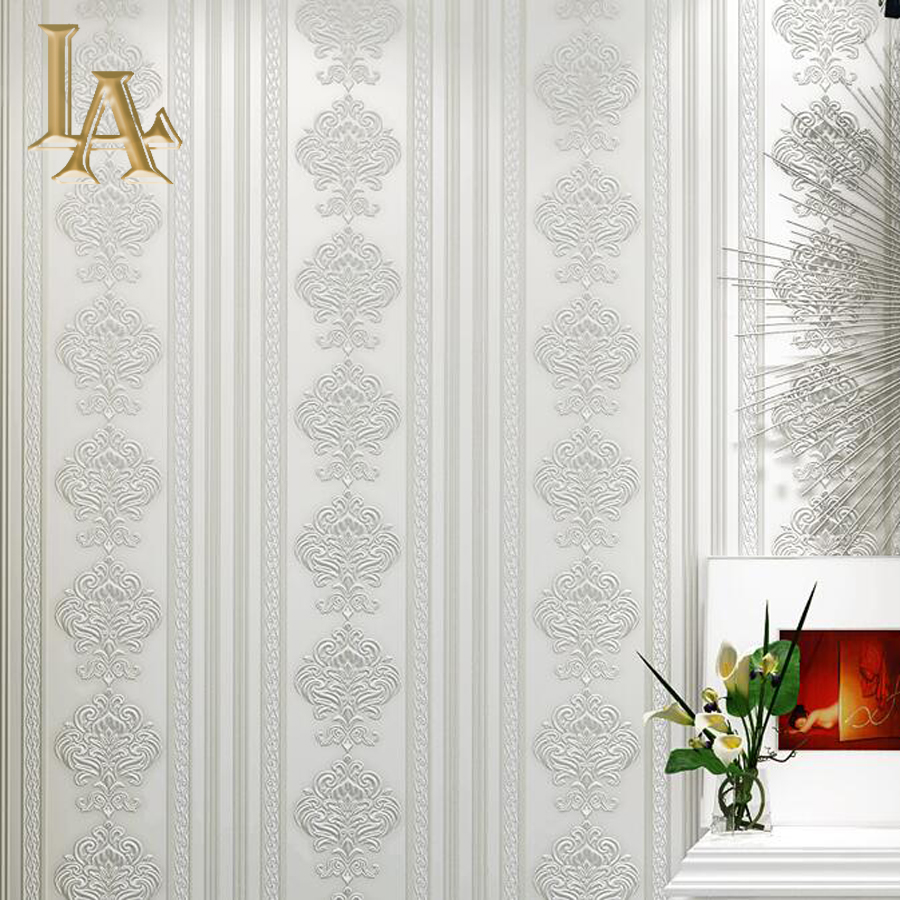 Aliexpresscom Buy European Damask Striped Wallpaper Bedroom