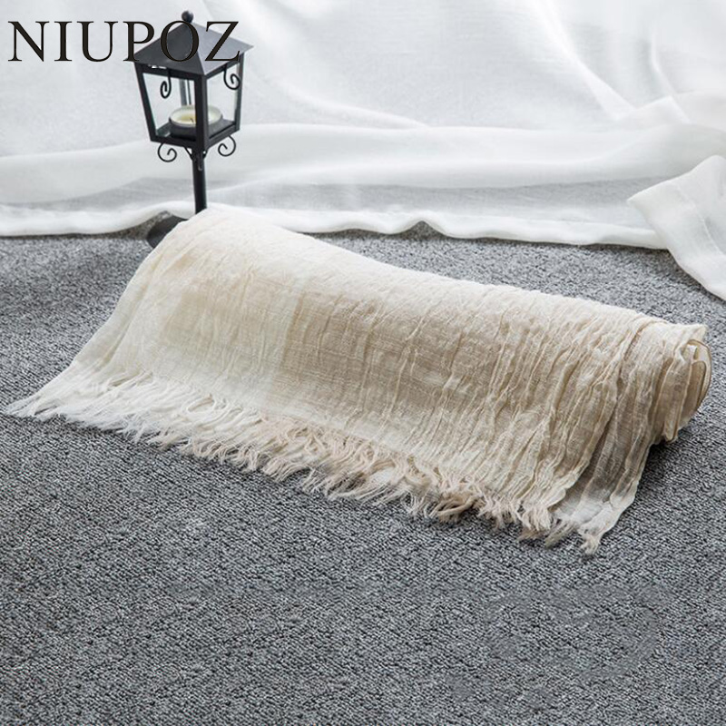 2017 New Design Women Cotton&Linen Scarf Summer Beach Gradient Patchwork Wrinkle Long Shawl Big Size 100*190cm  M195
