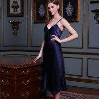 Натуральной шелк Для женщин Ночные рубашки для девочек лето 100% шелк тутового шелкопряда пижамы Кружево пикантные слинг спать платье длинны
