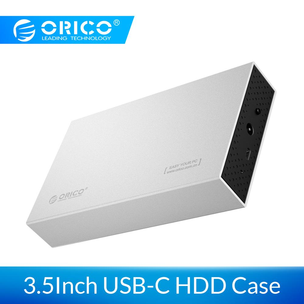 ORICO 3.5'' USB C HDD Case USB3.1 To SATA 3.0 Gen1 Aluminum Hard Drive Enclosure 6Gbps Support 10TB HDD With 12V Power Adapter