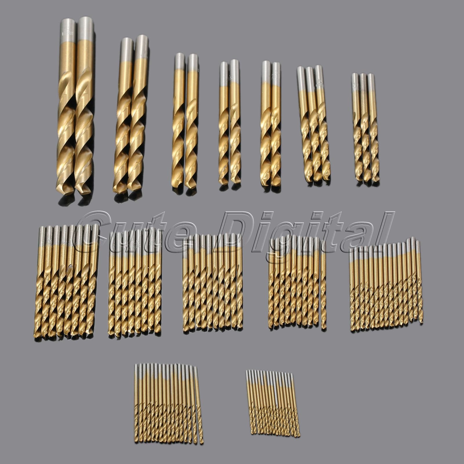 99pcs/set Titanium Coated HSS Twist Drill Bit Set High Speed Steel Drill Woodworking Power Tools Drill Accessories 1.5mm-10mm 19pcs hss titanium twist drill bit set high speed steel straight round shank 1 10mm durable power tools for metal drilling