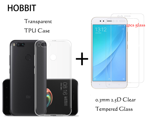 new style fa142 aea94 US $4.86 24% OFF|For Xiaomi Mi A1 for mi 5X Transparent Silicone TPU Bumper  Cushion Back Cover Case 0.3MM 2.5D 9H Tempered Glass Screen Protector-in ...