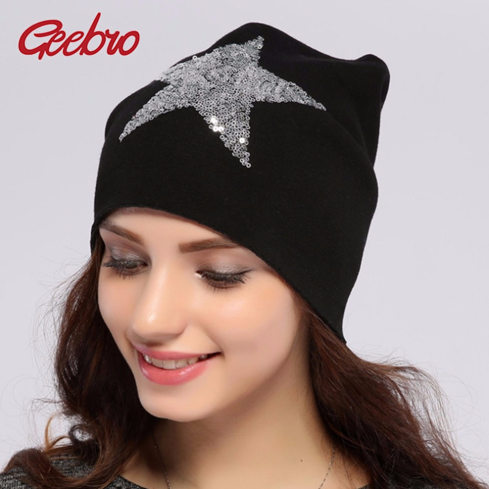 c994b82d7ee Geebro Women s Star Sequins Beanies Hat Spring Plain Knit Cotton Slouchy  Beanie For Women Skull Cap Balaclava Hats for Ladies