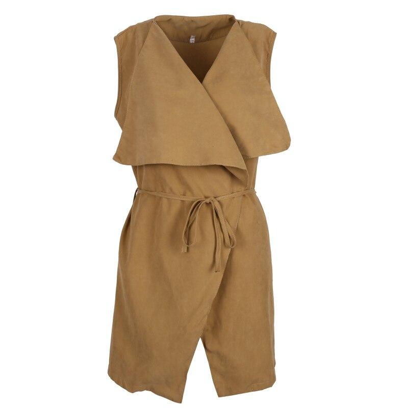 Women Coat Sleeveless Waterfall Cape Long Cardigan Jacket Coat Windbreak