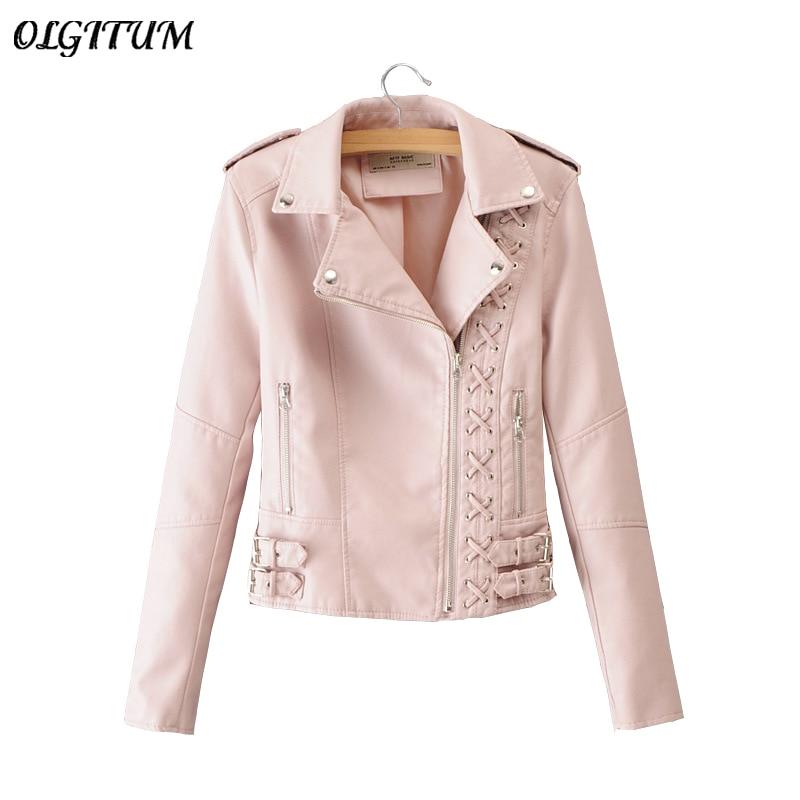 2018 European style Women Braided Rope Lapel Jacket Fashion Motorcycle Leather Jacket Outwear Multiple Zippers Slim short coat