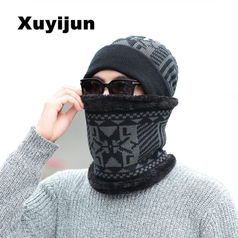 XUYIJUN Latest Hot Knitted skullies beanies Jacket Mask Winter Wool Mask Adult Hat Men & Women Thick Hat Mask cap skullies