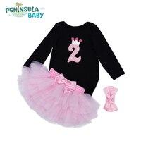 Nowa Para Bebe Niemowląt Dziewczyny Ubierają 3 Sztuka Zestaw 1st urodziny różowy Tutu Spódnice Dziewczyna Maluch Ubrania Piękne Dziewczyny Szaty Party Prezenty