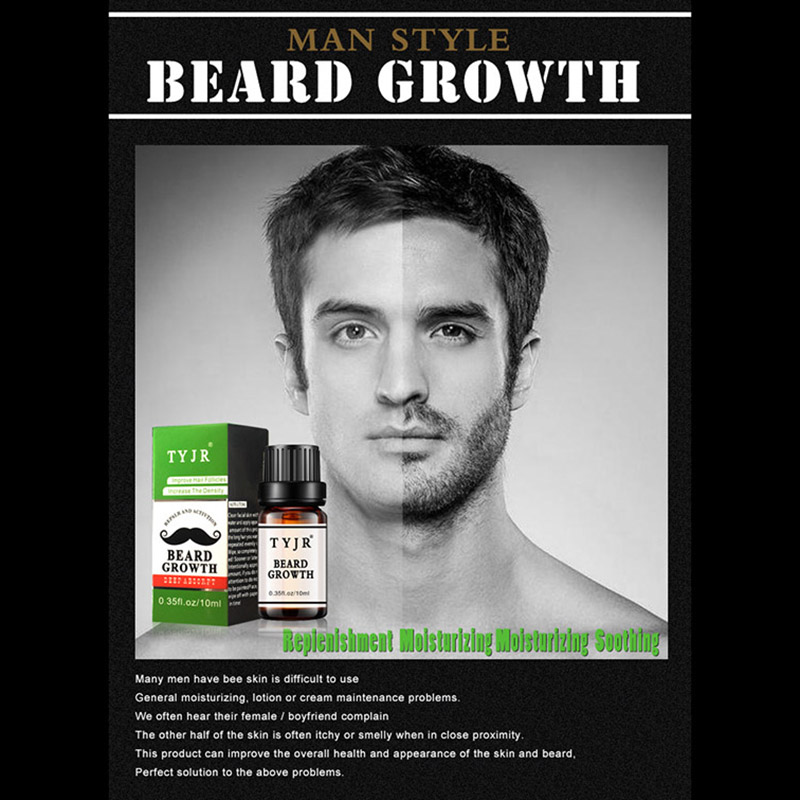 Men Beard Oil 10mL Fast Growth Moisturizing Facial Treatment Eyelashes Care Nourishment Men Beard Care Essence Liquid 2