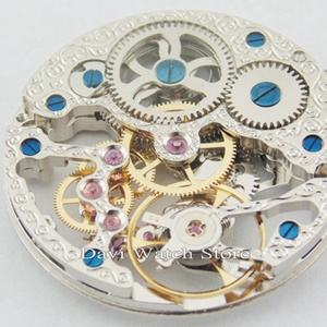 Image 5 - 17 Jewels Silvery Full Skeleton Hand Winding 6497 movement fit Parnis mens watch