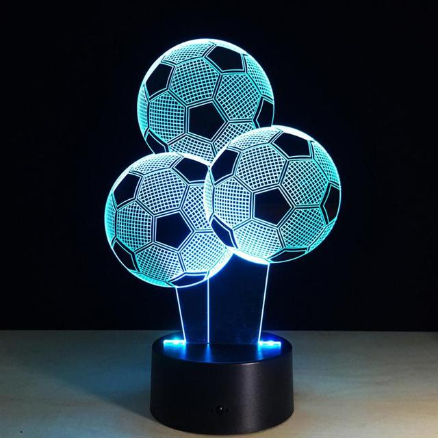 Three Footbal 3D Lamp Touch Table Lampe 7 Colors Changing 3D Desk ...