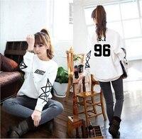 Ikon Women's Hoodie kpop IKON white clothing autumn clothing long sleeve coat Korean style womens shirt sweatshirt Outerwears