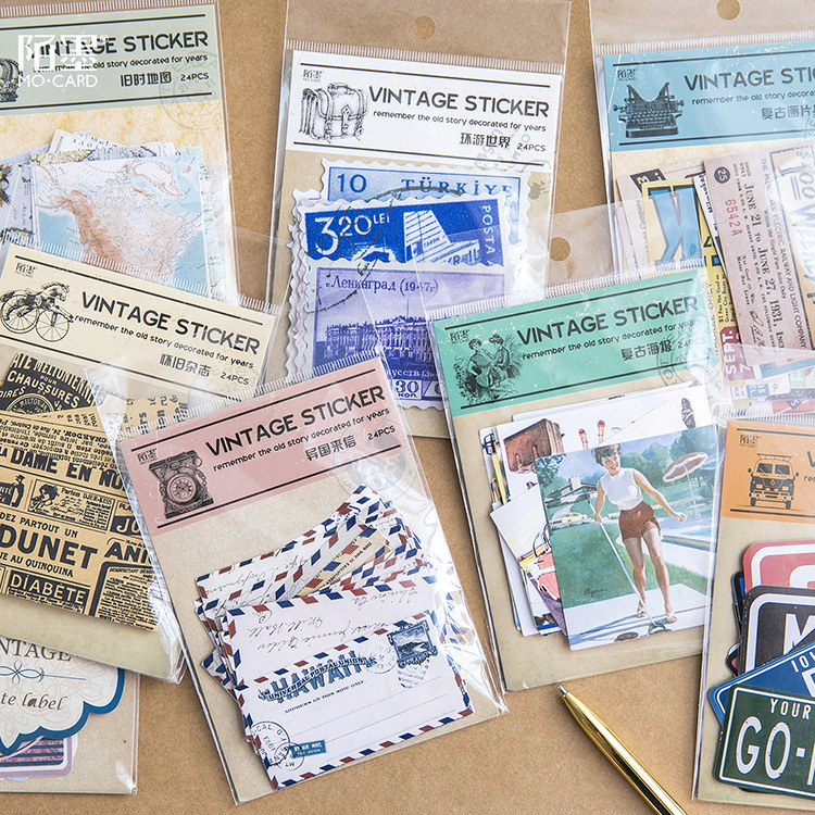 Creative vintage Poster map Travel around the world Decorative Stationery Stickers Scrapbooking DIY Diary Album Stick Lable
