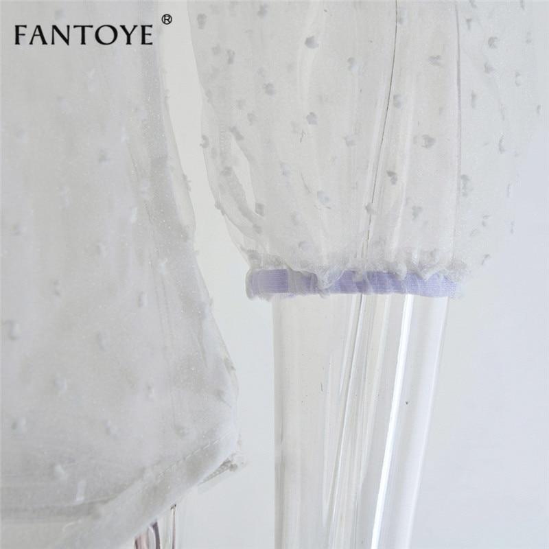 Fantoye 19 Summer Women Chiffon Blouse Shirt Sexy Transparent Mesh Beading Puff Sleeve Female office Shirts Lady Blusa Outfits 12