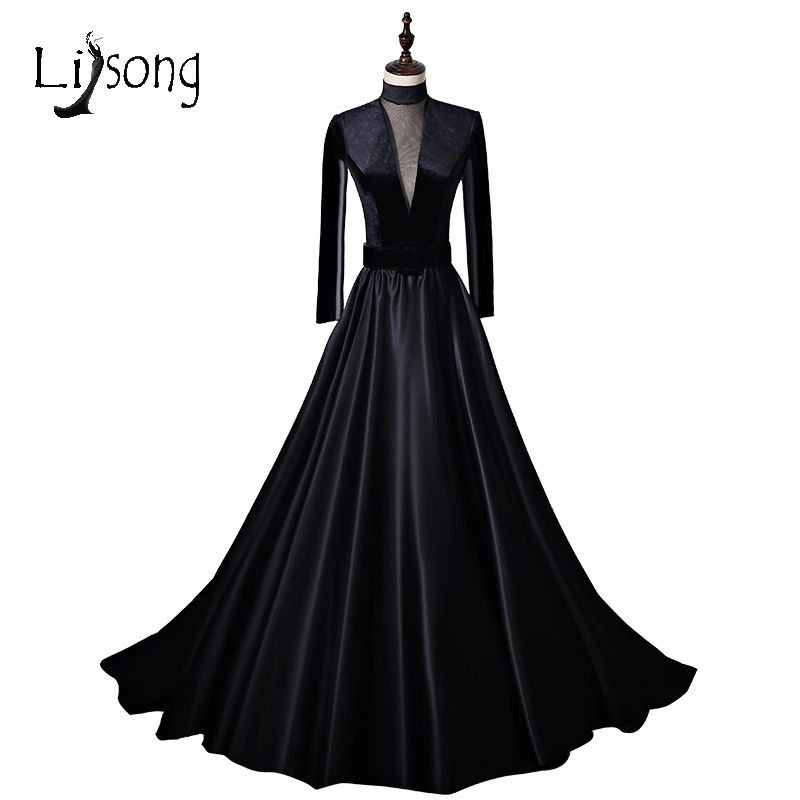 Saudi Arabia Black Velour Long Evening Dresses Full Sleeves High Collar  Vintage Evening Gowns Illusion Front e41d5dfdaa86