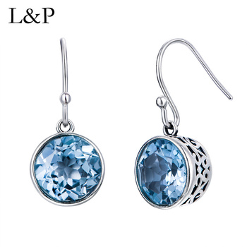 L&P Fashion Sea Blue Topaz Drop Earrings For Lady Authentic 925 Sterling Silver Hollow Earrings Fine Jewelry Wedding Gift
