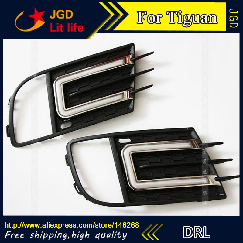 Free shipping ! 12V 6000k LED DRL Daytime running light for VW Tiguan 2013 2014 2015 fog lamp frame Fog light Car styling