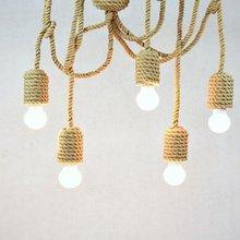 Lámparas colgantes de cuerda de vela Vintage DIY lámparas colgantes de cuerda de cáñamo Retro cuerda náutica iluminación industrial luz trenzada