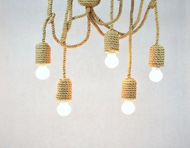 Vintage zeilen touw Hanger lichten DIY Retro Henneptouw Hanger ...
