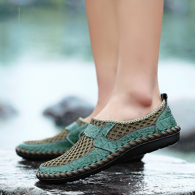 2018 Summer Breathable Mesh Shoes Italy Loafers Mens Casual Shoes Genuine Leather Slip On Brand Shoes Man Soft Comfortable 38-46 4
