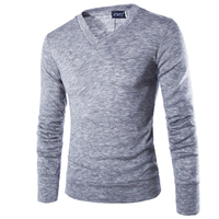 2016 V Neck Sweaters Stylish Knitted Long Sleeve Men Sweater Male Solid Bottoming Sweaters Pullover 7
