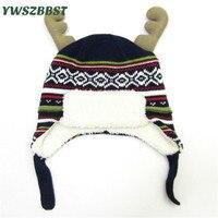 Kış Bebek Şapka Sevimli Boynuzları ile Çocuk Şapka Boys için Kızlar için çocuk Kap Sıcak Mercan ile Noel Bebek Caps kadife