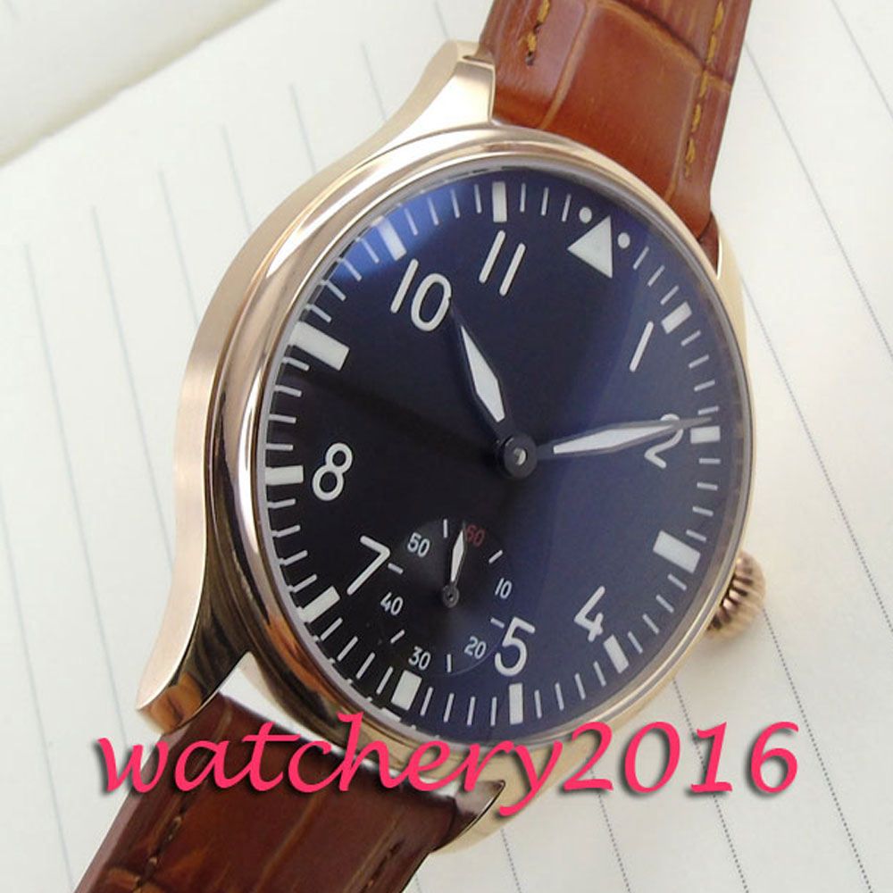 44mm Parnis black dial brown Leather hand winding 6498 movement Men's Watch цена и фото