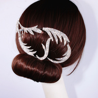 New Design Wedding Hair Accessories For Bride Crystal Feather Shape Hair Comb Wedding Hair Jewelry Hot