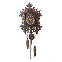 Ev ve Bahçe'ten Duvar Saatleri'de 1 adet Vintage kuş duvar saati el sanatları ahşap antika saat sanat duvar asılı saat çalışma oturma odası ev dekorasyon