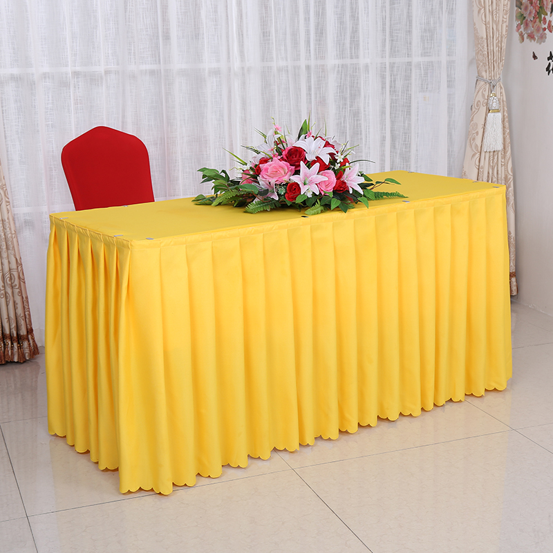 Top Luxury Customized Wedding Banquet Hotel Tablecloth Meeting Sign In A Buffet Table Skirt Cover Table