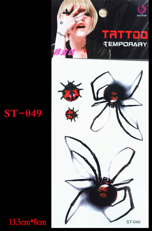 3 d body art ankle wrist stickers flash temporary tattoo removal fake spider body tattoo sticker design ...