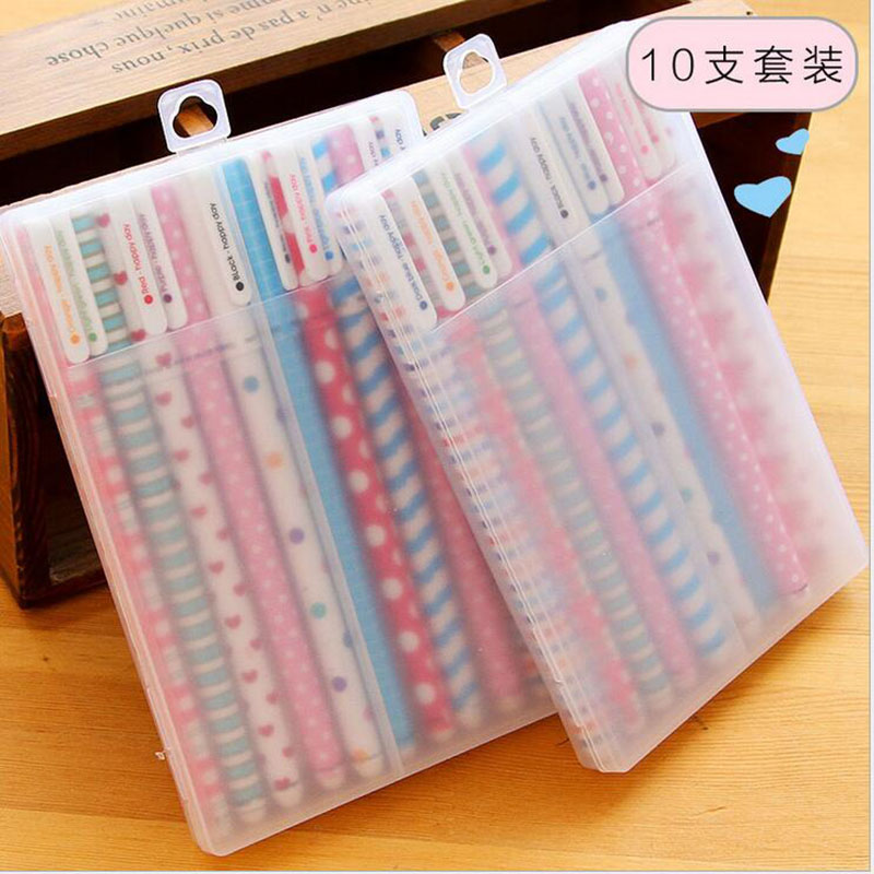 10PCS/lot New Cute Colorful Cartoon Gel Pen Set Kawaii Korean Stationery Creative Gift School Supplies Colored Gel Pens 10 pcs kawaii cartoon colorful gel pen set cute korean stationery pens for writting office school supplies 10 kinds color gift