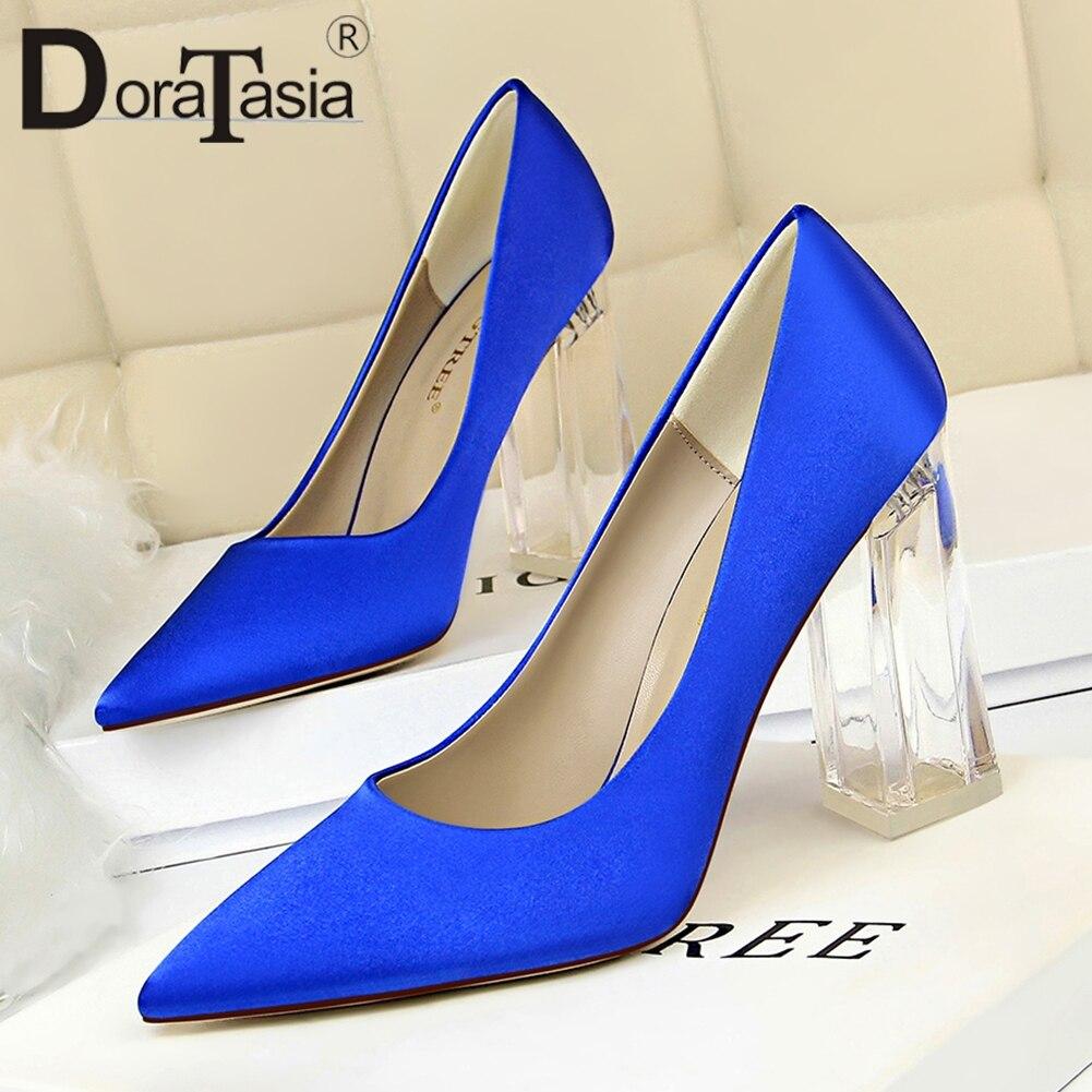 DORATASIA Lady Pumps Heels Shoes Woman Wedding Elegant Female Sexy High-Transparent Women