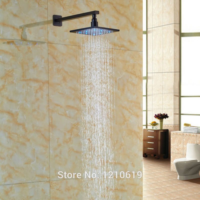 Newly Color Changing LED Bathroom 8 Top Shower Head w/ Arm Oil-rubbed Bronze Shower Sprayer Head 8 square led color changing shower head wall mount bathroom top head brass shower arm