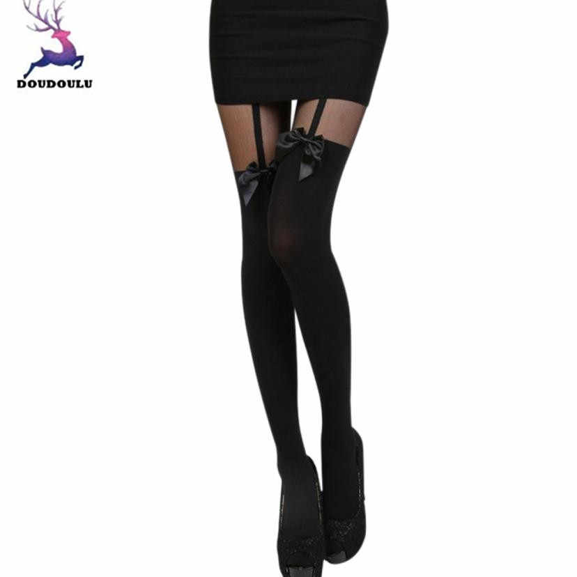 39720ffa98281 DOUDOULU Bow thigh high stockings for garter belt long Thigh-High stocking  sexy Leggings spring