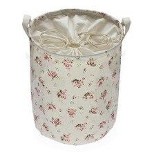 Flores color de rosa de Algodón de Lino Bolsas de Almacenamiento Multi-función de la Manija Apilable De Almacenamiento Barril Cesto de la ropa Caja de Almacenamiento de Juguete