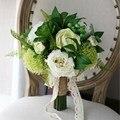 Branco Buquê De Noiva Artificial 2017 Baga Suculenta Peônia Verde Para Jardim Do País Bridesmaids Bouquet Noiva Segurando Flores