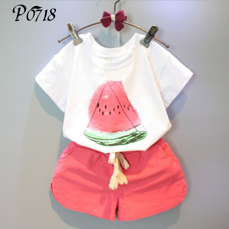 Children Girls Clothing Sets 2018 New Summer Girls 2 PCS Watermelon Pattern Print Kids Girl Clothes T-shirt + Red Shorts Outfits