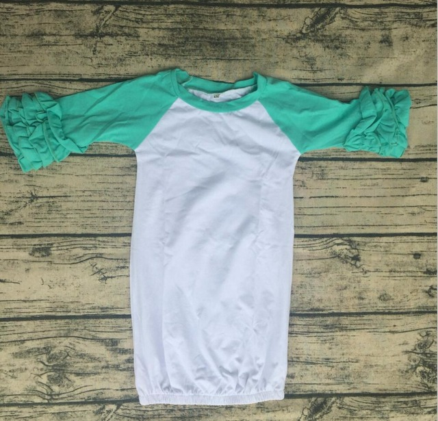 Comfortable Newborn Baby Girl Cotton Night Gowns mint and white baby ...
