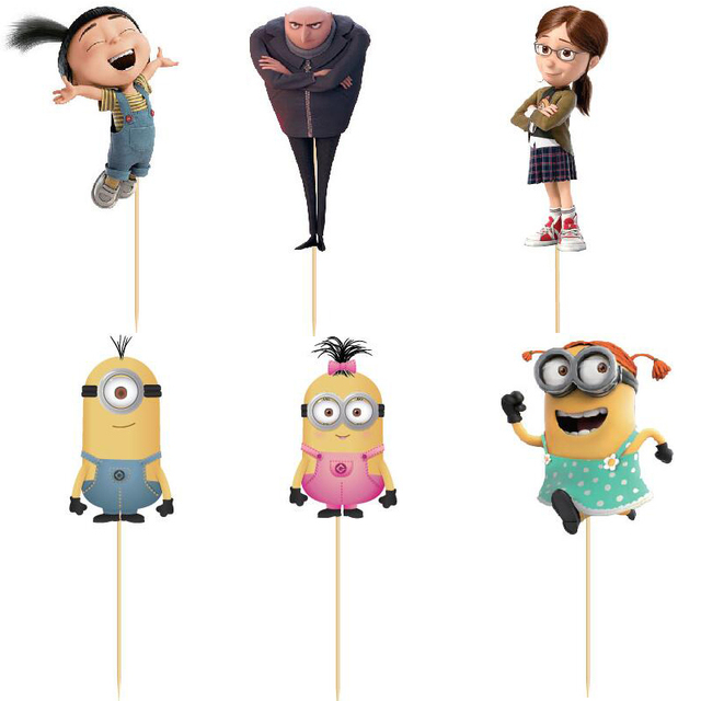 24pcs Despicable Me Gru minion Cup cake Topper Picks wedding