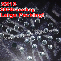 Ss16 Color Clear Crysta White Large Packing 200Gross Bag DMC Hot Fix Flat Back Transfer Rhinestone