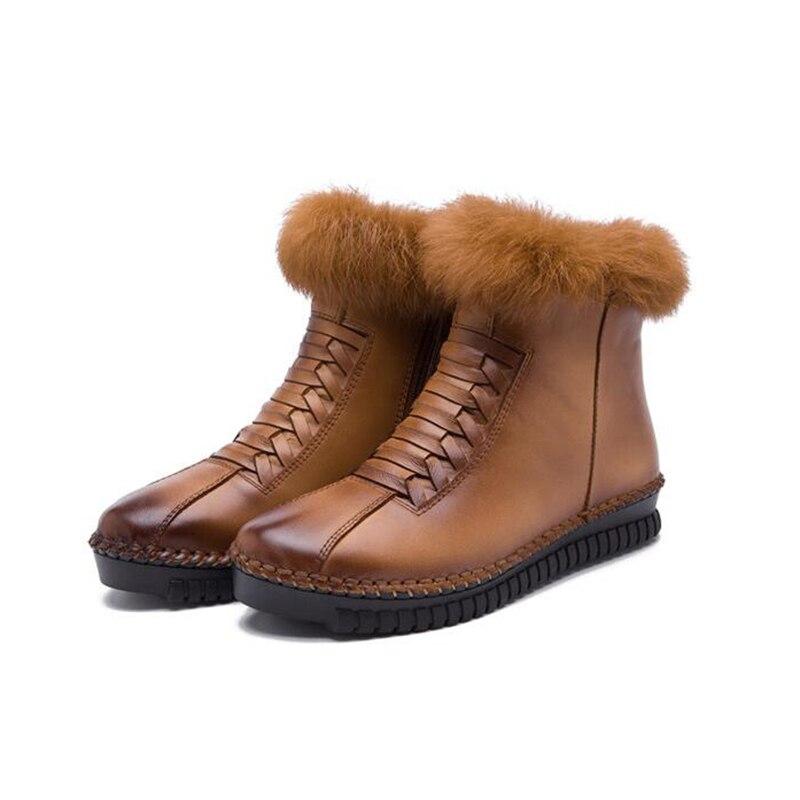 Lapin Latérale 1 Bottes Cheveux forme Femmes K347 Glissière Cheville Plate En Cuir La 2 Casual À Pour Nouvelle Main Chaussures 3 De D'hiver FJK1Tlc