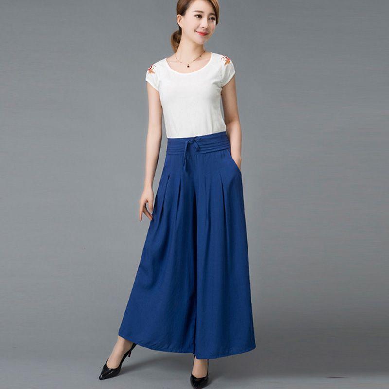 Women   Wide     Leg     Pants   Solid Plus Size Women Trouser 2018 Summer New Casual Cotton Linen Soft Loose   Pants   LQ0019