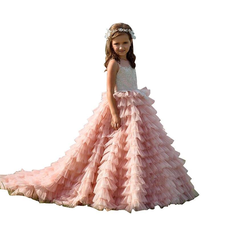 Longue robe de fille de fleur en couches rose pour mariage Tulle dentelle Appliques enfants robe de bal 2019 robes de reconstitution historique pour les filles