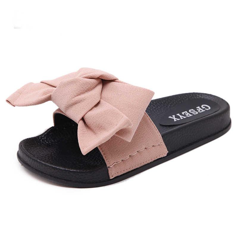 226646ea Bow Slides Women Summer Bowknot Beach Shoes Woman Female Slippers Flats  Platform Comfort Flip Flops Ladies Sliders Shoes