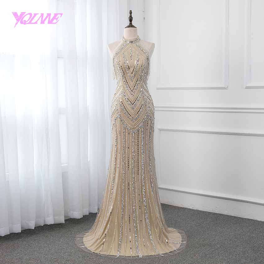 YQLNNE Halter Champagne Long Prom Dresses Crystals Beading Sleeveless Formal Gown Mermaid 2019